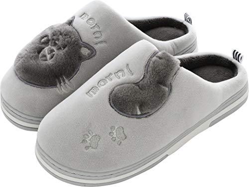 Pantofole Invernali Donna Pantofole da Casa Uomo Antiscivolo Scarpe Peluche Pantofole Caldo Ciabatte di Cotone Scarpe Indoor Outdoor- Grigio - 39/40 EU (Taglia Produttore 40-41)