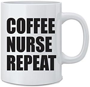 Coffee Nurse Repeat Funny Nurse Mug White 11 Oz Novelty Coffee Mug Great Gift for Nurses Doctors product image