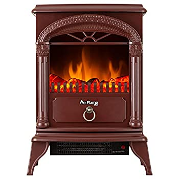 e-Flame USA Hamilton Portable Free Standing Electric Fireplace Stove - Infrared 3-D Log and Fire Effect  Rustic Red