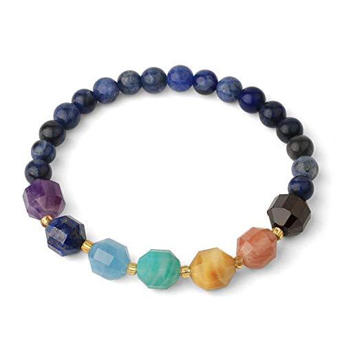 Stone Bracelet,Vintage Unisex Natural Gem Adjustable Bangle 6Mm Blue Sodalite Stone Beads With Multi-Faceted 7 Chakra Stones Beaded Bracelets For Women Birthday Party Men Friend Gift