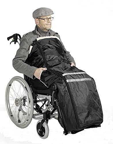Rollstuhlsack, Fußsack, Schlupfsack gefüttert ! Schwarz mit Antirutsch Noppen