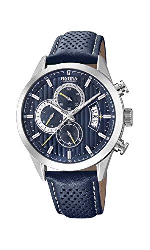 Festina Herren Chronograph Quarz Uhr mit Leder Armband F20271/5