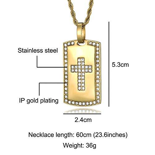 MNMXW Colgantes Collares para Hombres Mujeres Micro Pavimentado Diamantes De Imitación Joyas De Acero Inoxidable-Oro