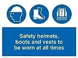 Viking signos mc516-a3l-3m'Cascos de seguridad, botas y chalecos para ser usado en todo momento' signo, 3mm, plástico rígido, 300mm H x 400mm W