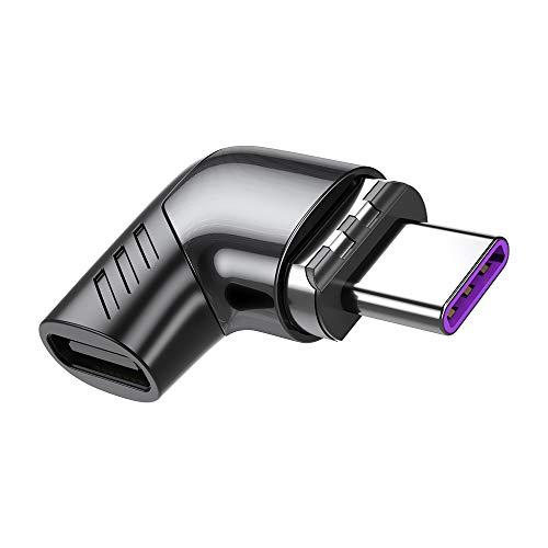 Adaptador magnético USB C, 100 W/5 A, puerto de carga rápida tipo C, soporte de ángulo recto USB PD 480 Mbps transferencia de datos compatible con Mac-Book Pro y otros dispositivos USB tipo C
