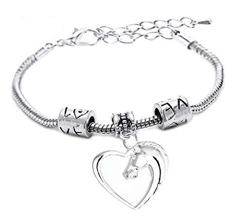 Armband - paardrijden - armband - dieren - paard - hart - motiverend - man - hanger - vrouw - unisex - zilveren kleur - feest cadeau idee - sieraden