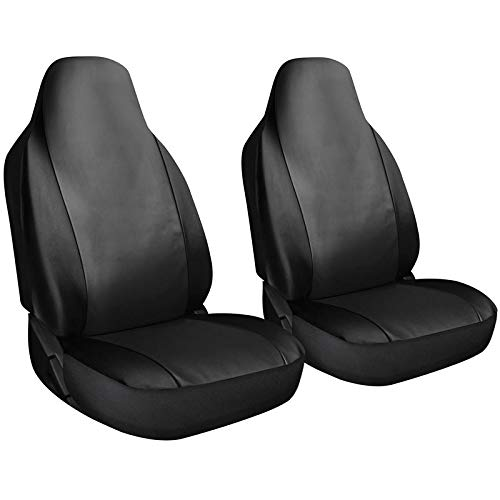 Motorup America Leather Auto Seat Cover High Back Integrated Set - Fits Select Vehicles Car Truck Van SUV - Solid Black