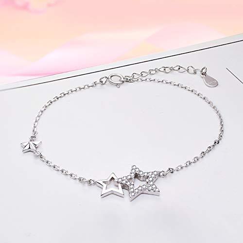 Boenxuan Fashion Doppel Sterne Damen Armband 925 Sterling Silber,Zirkonia Armkette Verstellbar Charm Armkettchen Armreif Silber,Silber