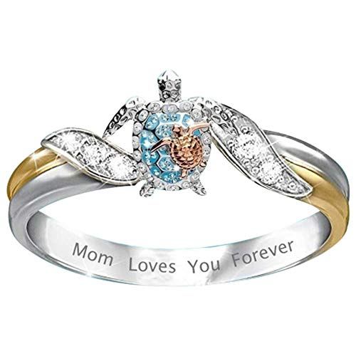 The Card Zoo Turtle Ring Crystal Zirconia Mom Loves You Forever Elephant Statement Ring Health Longevity Sea Turtle Ring Jewelry for Girls Women Mother Day Birthday Gifts (Blue Turtle, 6)