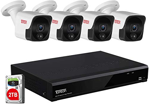 (PIR+Audio) Tonton 8CH 4K PoE Überwachungskamera Set Aussen, Videoüberwachung mit 4*5MP IP Kamera und 4K 2TB HDD NVR für 24/7 Aufnahme , IP66 Wetterfest, 30 Meter Nachtsicht mit Audio PIR Wärmesensor