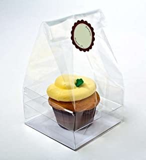 Clear Cupcake Bags with Paper Bottom   100 Bags   4 x 4 x 9   Party Favor Bags for Muffins Bundt Cakes   Great for Weddings, Parties, Bakery   Holds Single Large Decorated Cupcake   CBG4XL