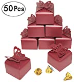 Red Wedding Party Candy Treat Favors Boxes - Small Red Butterfly Gift Box Gift Boxes Bulk Bachelorette Bridal Shower Birthday Mother's Day Party Boxes Supplies, 50pc