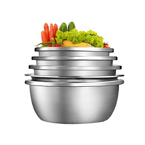 (Set Of 5) Stainless Steel Mixing Bowls, 304 Food Grade Soup Basin, Anti-corrosion, Easy to Clean, No Rust,4 Soup Pots + 1 Drain Pot (Size : 5-piece set(22/24/26/28/28cm))