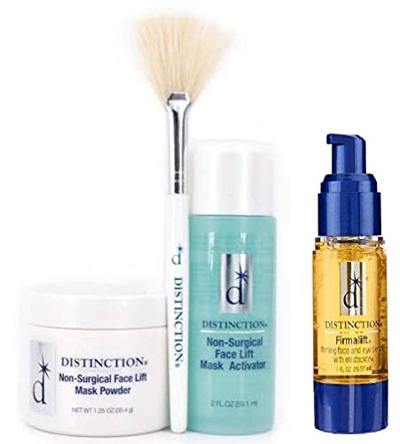 Distinction Non Surgical Face Lift Kit | Lifts, Tightens, Tones | Includes Firmalift Face and Eye Serum Lotion Cream, Mask Powder, Mask Activator, and Brush