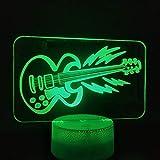 3D LED Tischlampe Kinder Geschenk Die Gitarre Realistic Present Musician Decoration Night Light