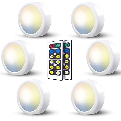 Luces Led Armario a Pilas con Mando, 3 Temperaturas de Color Luz Led Vitrina Sin Cable Foco Luz a Pilas Pulsador Luces Cocina Bajo Mueble Sin Enchufe Inalambricas Iluminación Led Estanteria Adhesiva