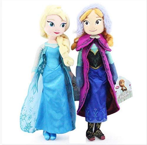 Youhj 2 Stück Frozen Princess Anna & ELSA Plüschtiere Niedliche Puppen Weiche Kissen Für Babykinder Zum Geburtstag Liebe Person Geschenk 40Cm