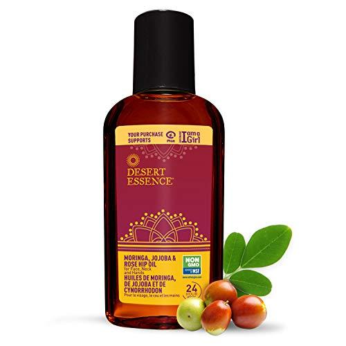 Desert Essence Moringa, Jojoba and Rosehip Oil - 2 Fl Oz - Enhances Skin Texture & Glow - Skin Restoration - May Help Stretch Marks - For Face, Neck, Hands - Vitamins A, B, C, E with Antioxidants