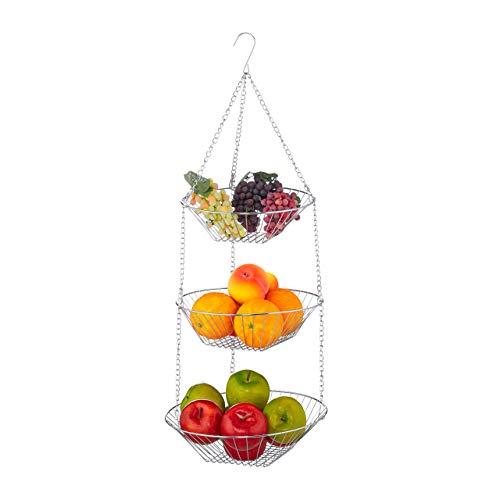 Relaxdays Hängekorb 3 Etagen, hängende Obstkörbe, 3er Etagere für die Decke, Obst, platzsparend in Küche, Stahl, silber