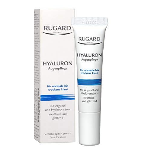RUGARD Hyaluron Augenpflege: Augencreme gegen Augenringe, Tränensäcke & Fältchen, mit Hyaluronsäure und Vitamin E, 15ml