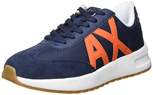 Armani Exchange Mens Dusseldorf Volume Sole Running Sneaker, Indigo+ORANGE,39 EU