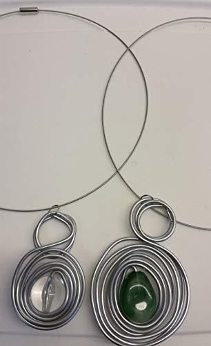 Halskette Halsreif mit Anhänger aus Aludraht Schmuckdraht und Perlen