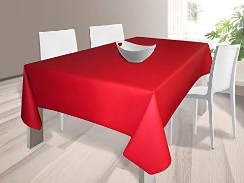 HuleHule Mantel Tela Resinada Antimanchas Color Rojo Liso (140_x_100_cm)