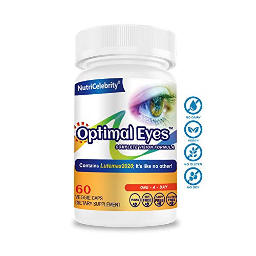 Nutricelebrity Lutein and Zeaxanthin Supplements - Eye Vitamins, Lutemax 2020 Eye Vision Health & Eye Strain Support, Macular Health, Dry Eye and Night Vision, 60 Caps (1 Per Day) Dietary Supplement