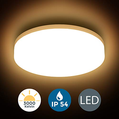 Plafón LED blanco/ Panel LED de 13W Lámpara de techo blanco LED Ø220mm IP 54 I Blanco neutro 3000K I Plafón para baño I Moderno I Redondo I 1500LM