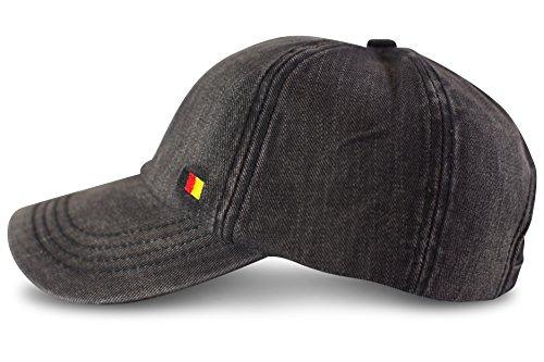 fashionchimp ® Baseballcap im Used-Look aus 100% Baumwolle mit Deutschland-Fahnen Stickerei, Denim-Cap (Grau)