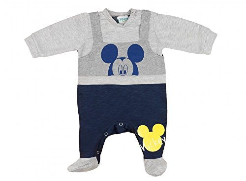 Jungen Baby-Strampler mit Füßchen GEFÜTTERT von Mickey Mouse in GRÖSSE 56, 62, 68, 74, Latzhosen-Design, Baby-Schlafanzug LANG-ARM mit...
