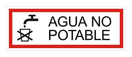 Cartel agua no potable | Aluminio | 175 x 65 mm | autoadhesivo | Nr.53356