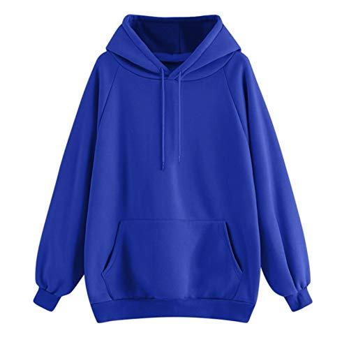 Beauty Top Femmes Sweat à Capuche Col Haut Solid Manches Longues Chemisier Pull Pullovers Tops avec Cactus Imprimer Hoodie Patchwork Hiver Pulls Blouse Gilet DéContracté T-Shirt (Bleu, Medium)
