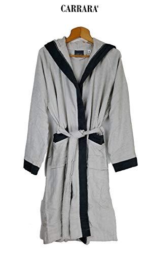 Carrara Bademantel für Damen mit Kapuze aus Reiner Baumwolle (Perla Größe S/M)