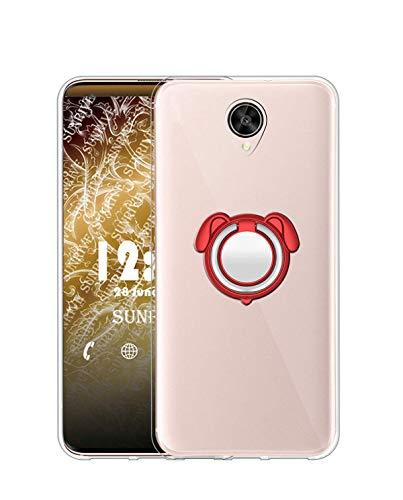 Sunrive Kompatibel mit Meizu M3 Max Hülle Silikon, 360°drehbarer Ständer Ring Fingerhalter Fingerhalterung Handyhülle Transparent Schutzhülle Etui Hülle (Farbe rot) MEHRWEG