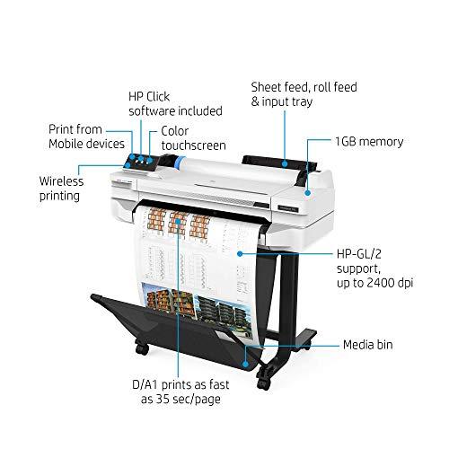 HP DesignJet T525 - Impresora de 24' (HP Smart, WiFi, hasta 2400 PPP, USB 2.0)
