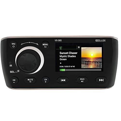 Marine Bluetooth Radio Digital Media Receiver 3' Display,AM/FM Audio /Photo/Video PlaybackPerfect for Yachting Boat Camper Motorcycle UTV ATV Golf Cart