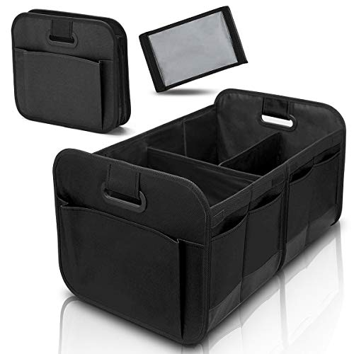 Car Trunk Organizer for Car SUV Truck with Foldable Compartments and Reinforced Handles (Black)