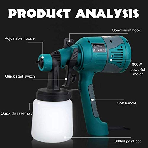 WSMLA Control Spray Double Duty Paint or Stain Sprayer Complete Adjustability for Decks Cabinets Furniture and Woodworking 800W Electric Paint Sprayer Painting Compressor with 800Ml
