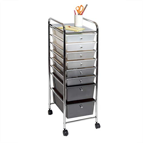 Seville Classics 8-Drawer Multipurpose Mobile Rolling Utility Storage Bin Organizer Cart, Gradient Gray
