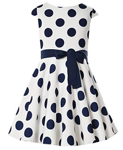 generisch Mädchen Kleid festlich Einschulung Hochzeit Blumenmädchen Sommerkleid Jugendweihe Punkte weiß blau EU Ware Größe 152