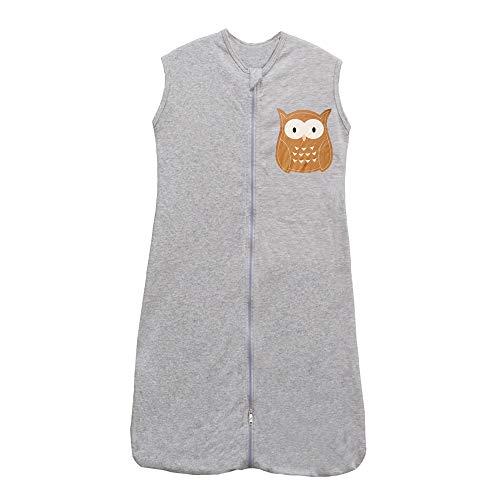 Babyschlafsack Sommerschlafsack Baby Frühling Schlafanzug Kinder Schlafsack Sommer Grau Eule 0.5 Tog (130CM/3-6Jahre, Grau Eule)