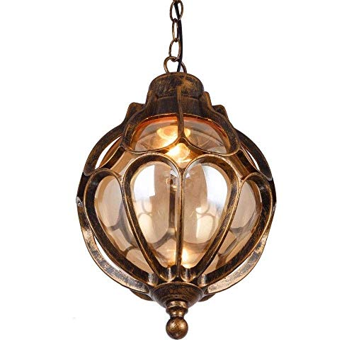 Earth Round Outdoor Chandelier Waterproof IP55 Antique Bronze A Series Ceiling Pendant Lamp Decorative Vine Shelf Patio Gazebo Pool Porch Decoration Ball Glass Lantern (Size : H:43.5cm)