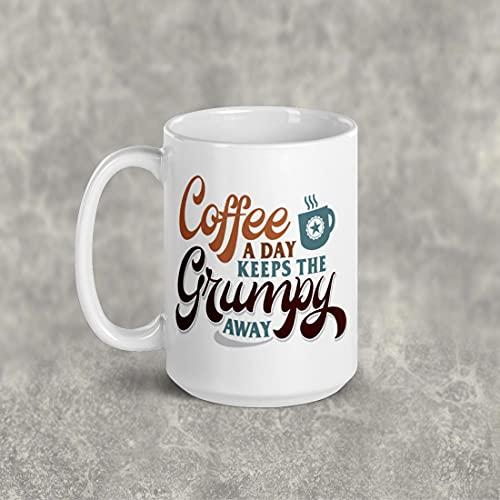 DKISEE Taza de té de café con texto en inglés 'A Coffee a day' Keep the Grumpy Away Taza personalizada. regalos