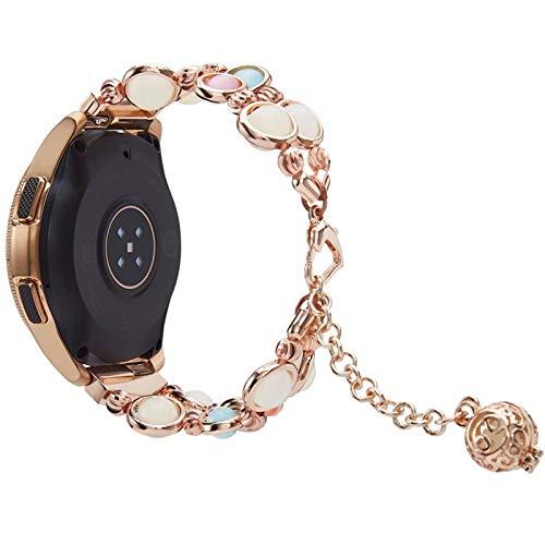 DALIANMAO Correa de reloj de 20 mm y 22 mm para mujer, correa de metal que brilla en la oscuridad, color de la correa: oro rosa, ancho de la correa: 22 mm.