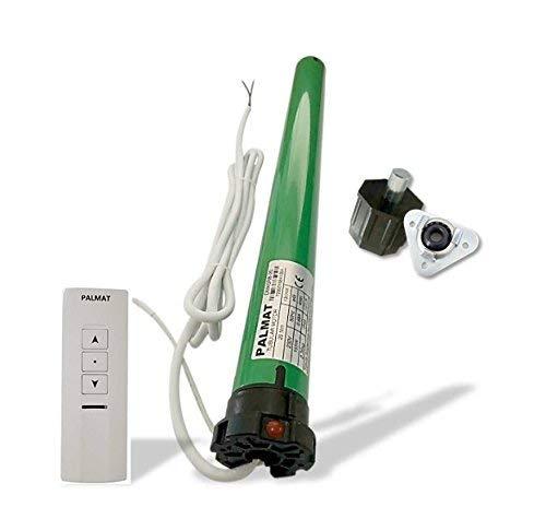 Palmat Rolladen Rohrmotor mit integrierter Funksteuerung einschließlich 1-Kanal-Funkfernsteuerung mit Kristall-Magnetwandhalter (60 SW 45kg Zugkraft +Adaptern)
