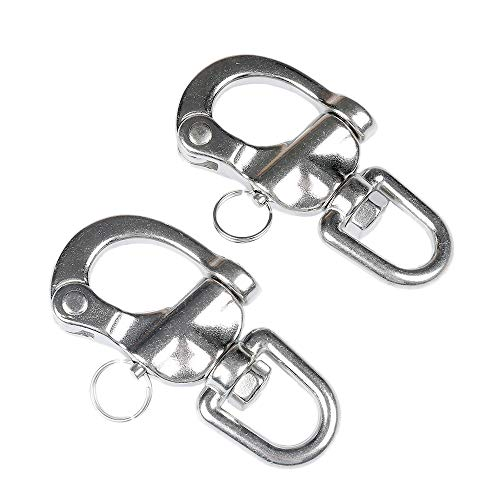 Thorn Jaw Swivel Snap Shackle Quick Release Bail Rigging Sailing Boat Marine 316 Stainless Steel Pair of 2 (3.5