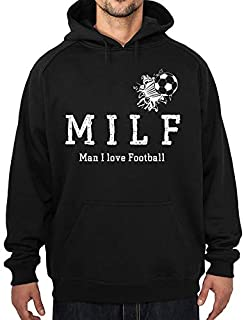 Acen Merchandise Milf - Man I Love Football - Premium Quality Black Hoodie Hoody Sweatshirt Heavy Blend