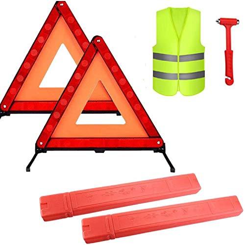 TourKing Warning Triangle Kit 4 Pack,Car Roadside Emergency Kit with Reflective Warning Triangle,Visibility Roadside Vest, Safety Hammer for Roadside Breakdowns Emergencies