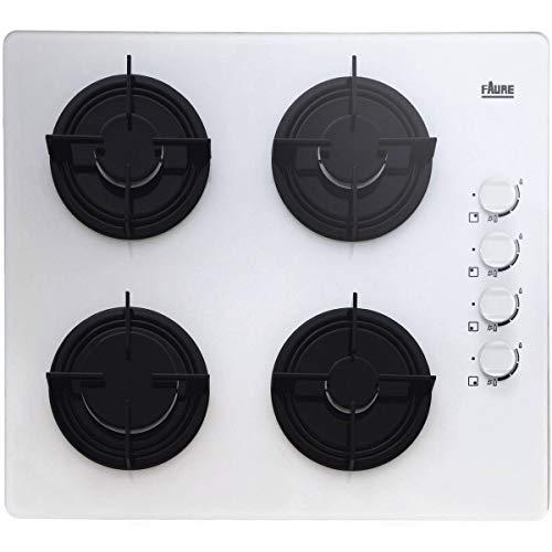 Faure FGO62414WA plaque - plaques (Intégré, Gaz, Verre, Blanc, Émaillé, Rotatif)